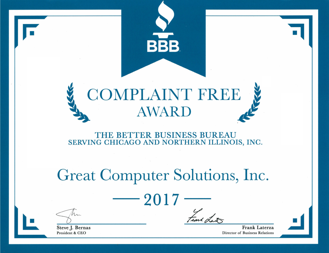 GCS earns adds one more complaint FREE year to its credit,